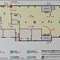桃園市圖書館總館、K書中心 - 1F消防設備分布暨逃生路線圖