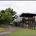 桃園市玉山公園 - 約三層樓高的木造高腳瞭望台