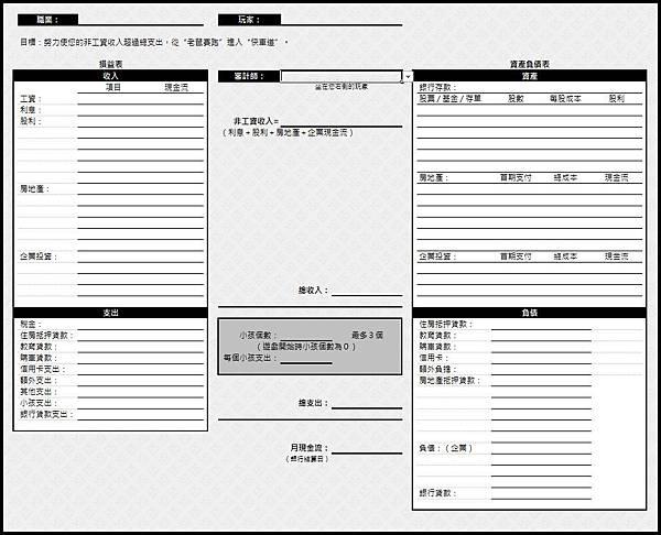 富爸爸.窮爸爸現金流遊戲 MP CASHFLOW の輔助記帳XLS表格