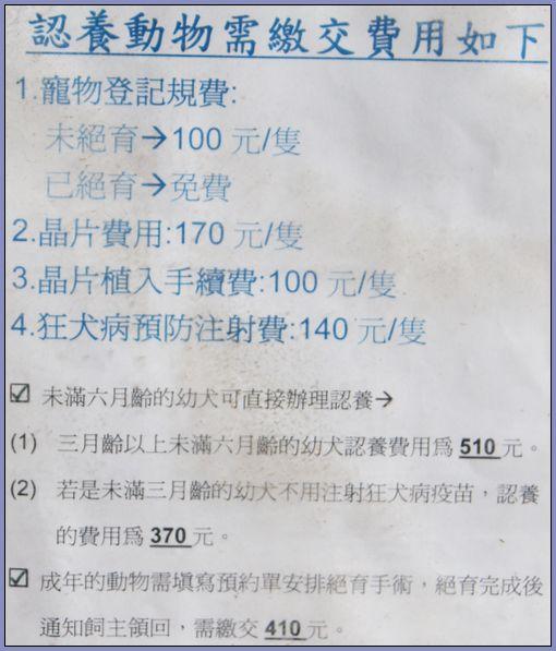 流浪動物收容所- 認領養動物需繳交費用一覽表