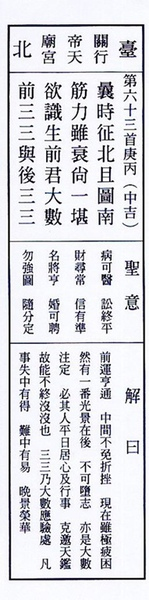 雷雨師ㄧ百籤 - 063籤
