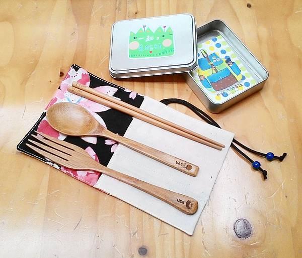竹製餐具與收納袋和小明信片組