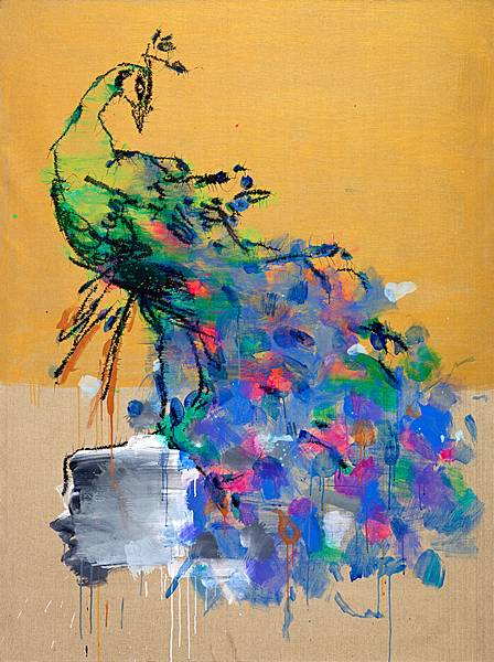 葉永青_Ye_Yong-Qing_孔雀_Peacock_2014_20 0x150cm__布面丙烯_Acrylic_on_Canvas (1)