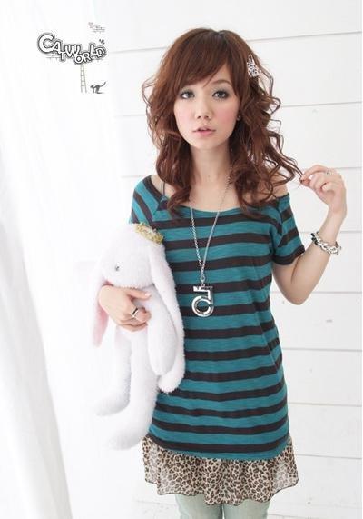 catworld 藍綠色橫條紋針織短袖長版上衣1