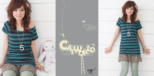 catworld 藍綠色橫條紋針織短袖長版上衣2