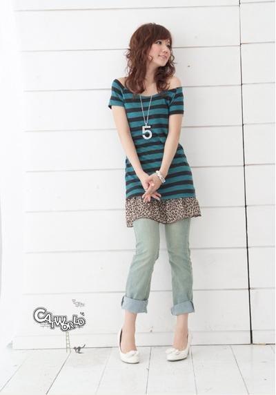 catworld 藍綠色橫條紋針織短袖長版上衣3
