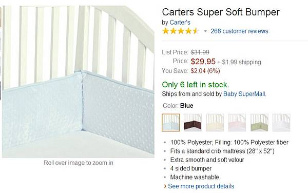 Amazon.com  Carters Super Soft Bumper, Sage  Baby