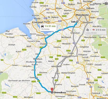 map_manchester to shrewsbury