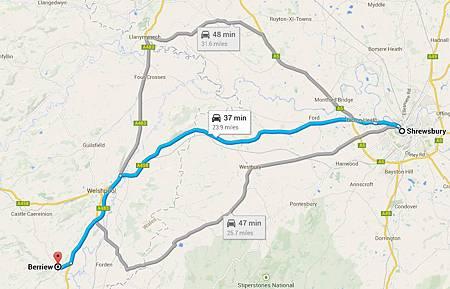 map_shrewsbury to berriew