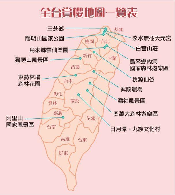 2013全台賞櫻一覽表