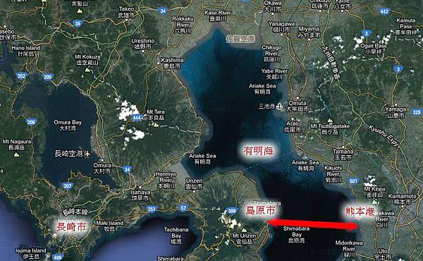 地圖-長崎至熊本