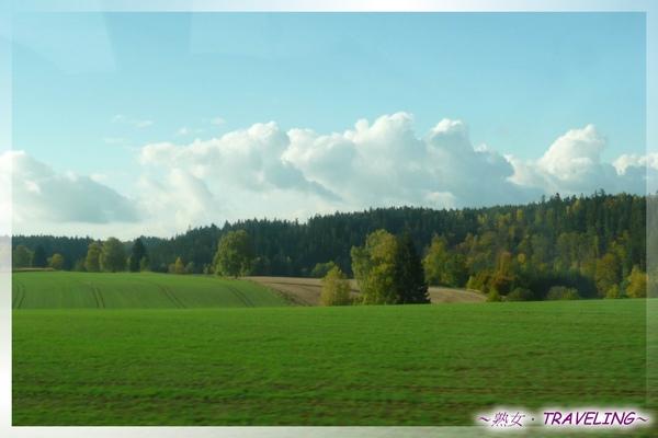 前往Krumlov-沿途都是這樣的草地和森林.jpg