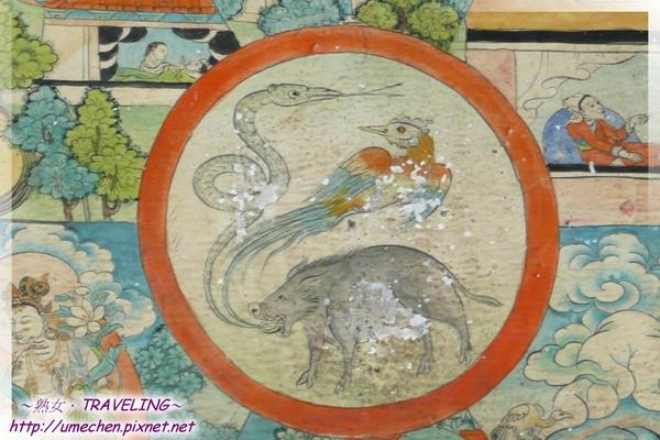 札什倫布寺-六道輪迴圖-中間圓圈有3動物,豬雞蛇代表痴貪瞋.jpg