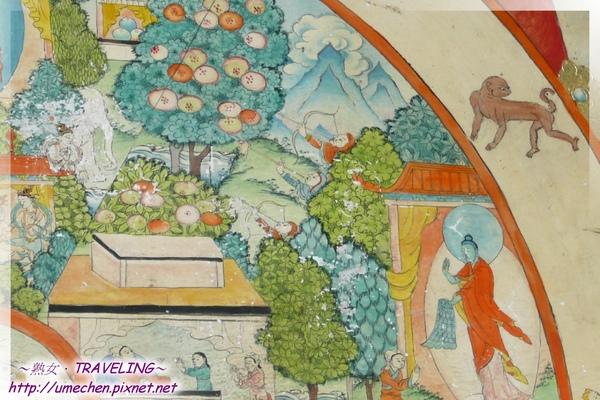 札什倫布寺-六道輪迴圖-阿修羅道,只顧自身修行,和天道中間的果樹相連,表示兩者差異小.jpg