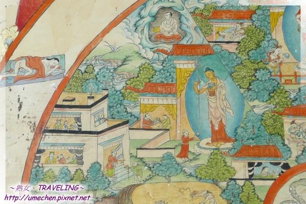 札什倫布寺-六道輪迴圖-人道,上面在洞穴修行表示可藉修行超越.jpg