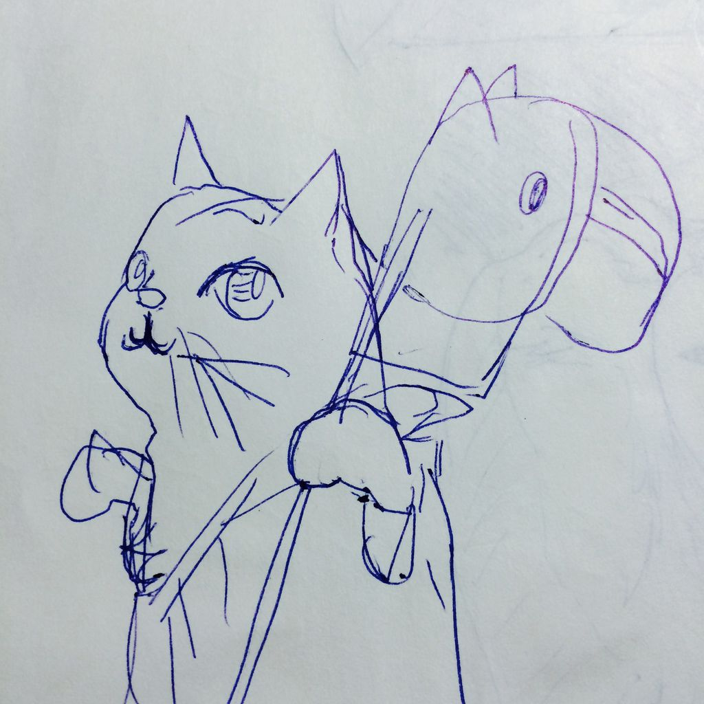 貓仙人草圖