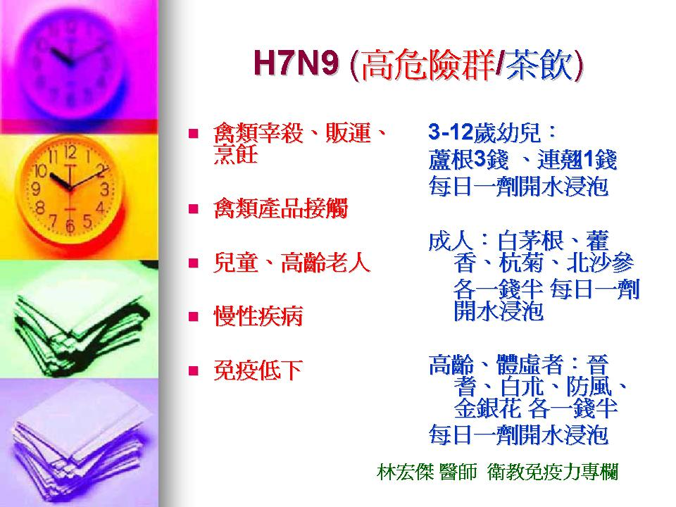 H7N9適合茶飲與高危險群