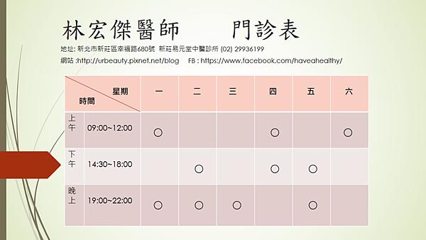 林宏傑醫師 門診表(可攜式網路圖形)