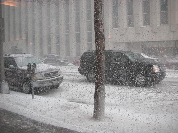 Snow storm--儘管從飯店到會議廳只要走路十分鐘,但還是得坐計程車過去