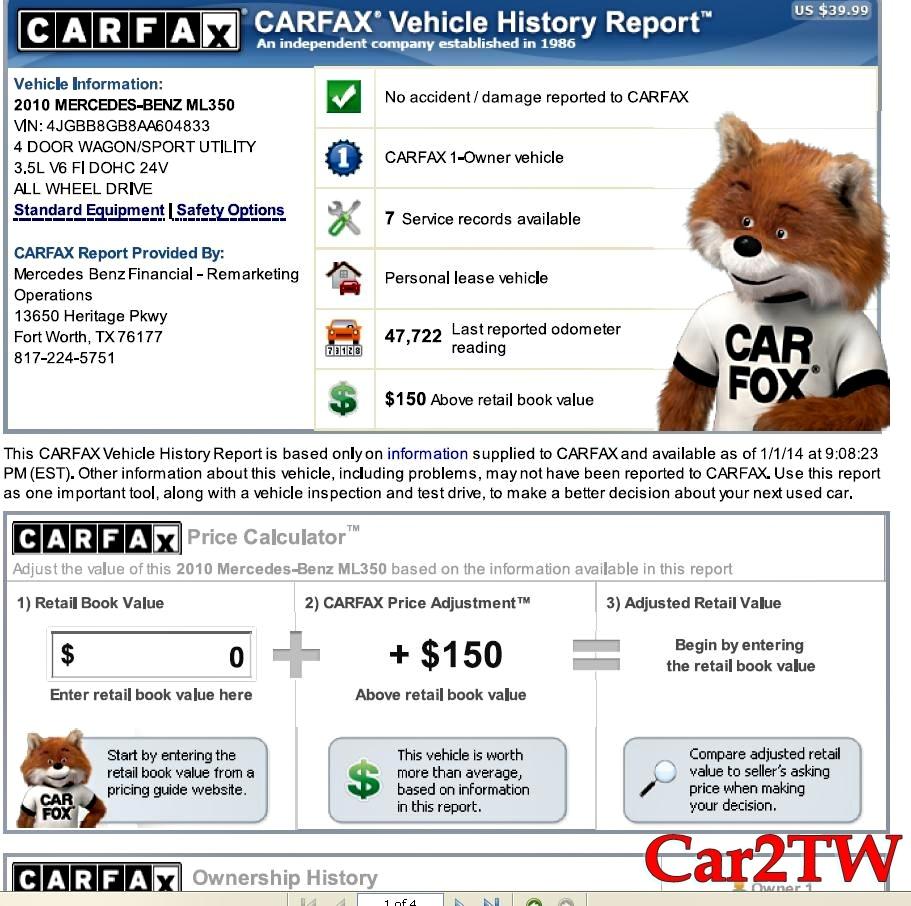 2010賓士ML350外匯車CarFax檢查報告