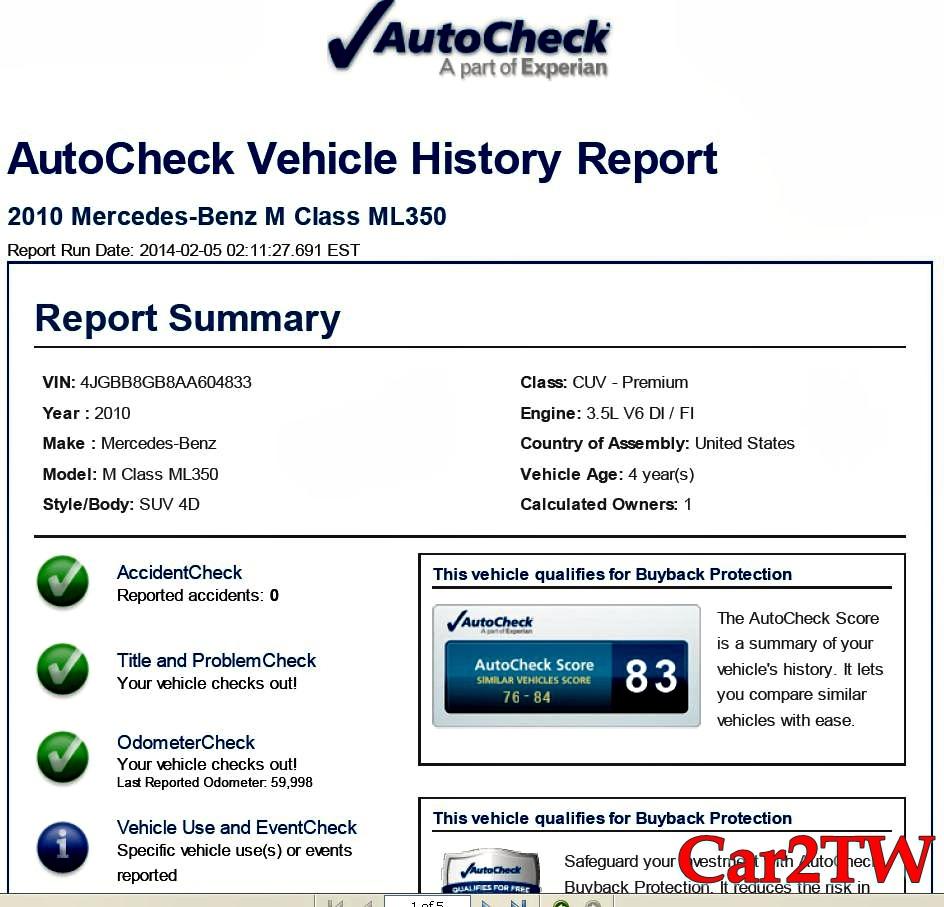 2010賓士ML350外匯車Autocheck檢查報告