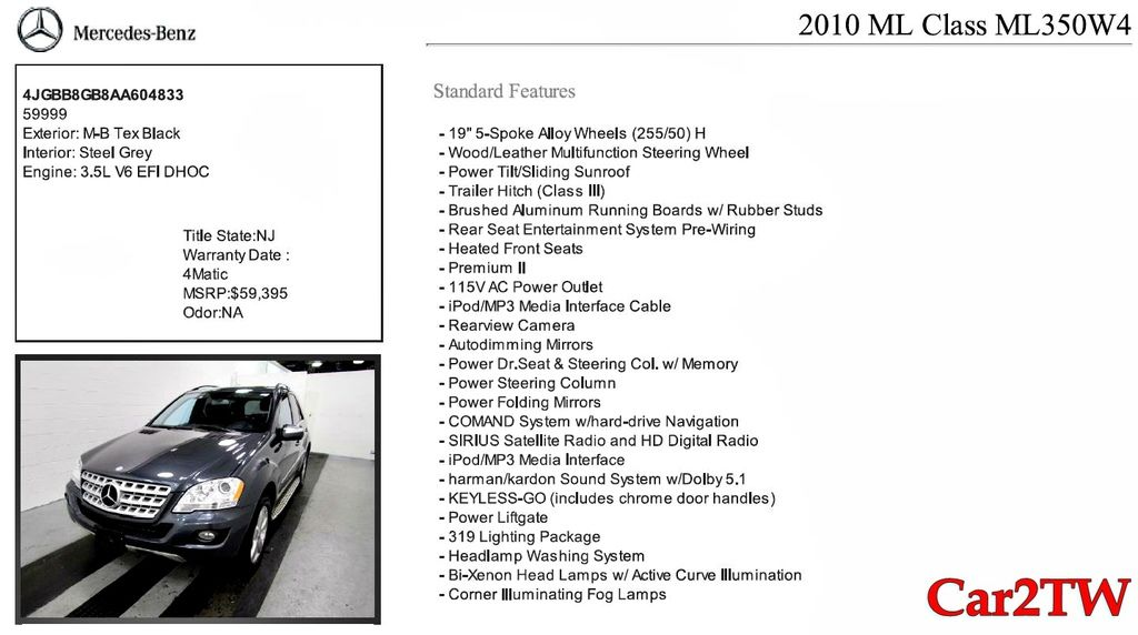 2010賓士ML350新車價格400萬,現在只要???萬就可以開回家,真的物超所值阿,下面是這台賓士ML350的配備,有HID頭燈、倒車梅達及顯影、電動摺疊照後鏡,HD高傳真音響,電動後尾門等等選配,這些選配如果是當年賓士ML350新車售價要超過30萬以上。也想進口一台便宜又優質的好車嗎?