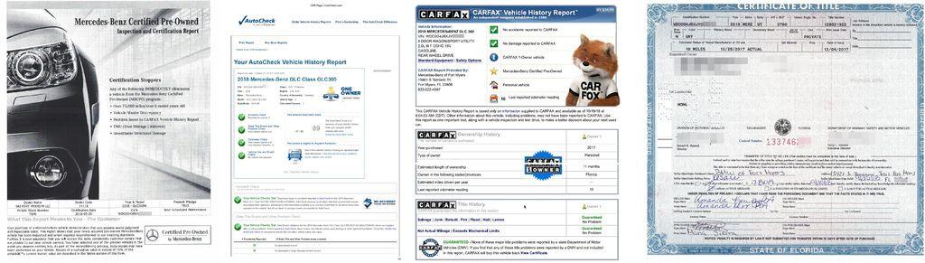 Car2TW在美國有分公司會有專人檢查外匯車車況, 和美國車商進行議價看看能不能再為客戶再省一些費用,當然還有代購外匯汽車文件處理, 其中等待文件就就有可能會用上1-6星期,因為有的車商比較嚴謹,在文件流程上會比較多一些, Car2TW會提供這台車的美國報告例如CARFAX或是AUTOCHECK,還有車子的車主證( Title), 下圖為2018 BENZ GLC300外匯車的CARFAX及AUTOCHECK及車主證( Title)及賓士CPO文件照片