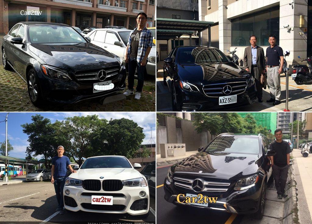 買車是件開心的事,領牌上路又是更開心的事,上圖為直購美國外匯車2018賓士E300 W213 及新竹王先生委託Car2TW代購的賓士c300,Car2TW協助台中林先生代辦的2016 BENZ GLC300及高雄陳大哥的BMW X3 28i 2011順利領牌照片,謝謝大家給Car2TW服務的機會
