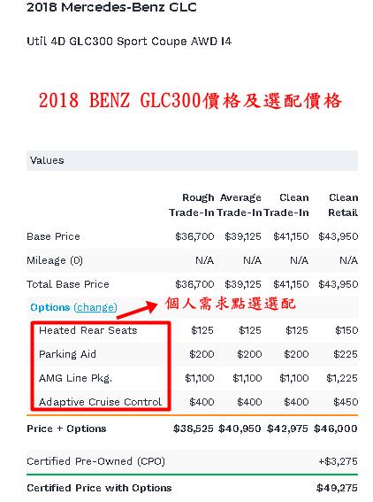 2018 BENZ GLC300在美國中古行情價,2018 benz glc300價格美金$41150-44425.  選配部分根據個人所有的一些功能選擇,例如:  加熱後座美金$125  停車援助美金$200  AMG Line pkg$1100  自適應巡航控制$400