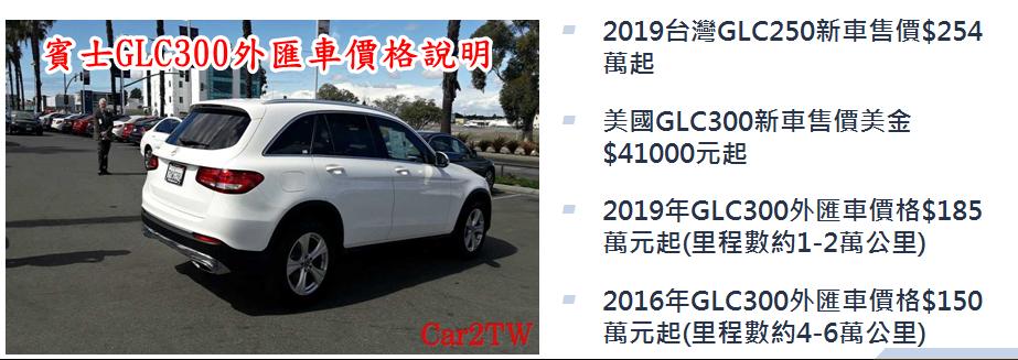臺灣總代理新車價格與GLC300外匯車價格說明。  2019台灣GLC250新車售價$254萬起  美國GLC300新車售價美金$41000元起  2019年GLC300外匯車價格$185萬元起(里程數約1-2萬公里)  2016年GLC300外匯車價格$150萬元起(里程數約4-6萬公里)  年份、里程數、配備等價格會有變動。