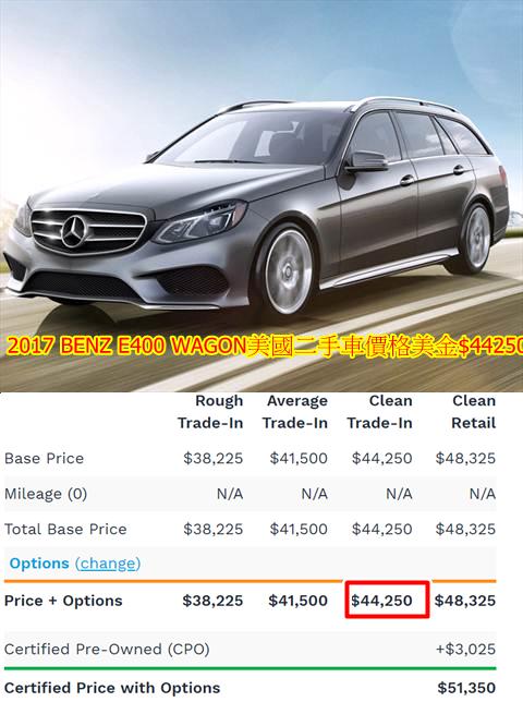 2017 BENZ E400 WAGON美國二手車價格美金$44250,從美國買車、出口、進口、ARTC驗車、領牌辦到好只需要臺幣約$255萬。