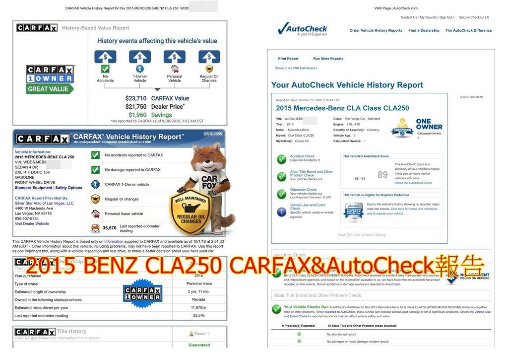 洪先生的CLA250外匯車的CARFAX&AutoCheck報告,這兩份報告上都會清楚記錄車子從出廠、幾任車主、是否有事故、行使里程數等等