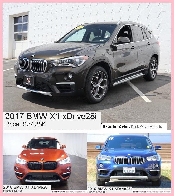 2017 BMW X1 xDrive28i $27386(美金價格),顏色:橄欖綠  2018BMW X1 xDrive28i $32425(美金價格),顏色:橘色 2019BMW X1 xDrive28i $38900(美金價格),顏色:藍色  為什麼相差價格那麼多呢?  因車子本身就存在折舊率,年份越久價格相對比較便宜,年份越新價格就比較高.  而且購買外匯車還有一個優點就是可以選自己喜歡的顏色,讓自己的車開在路上第一眼就被發現.  外匯車的價格會根據年份、配備、里程數、選配、CPO原廠認證等有所波動.