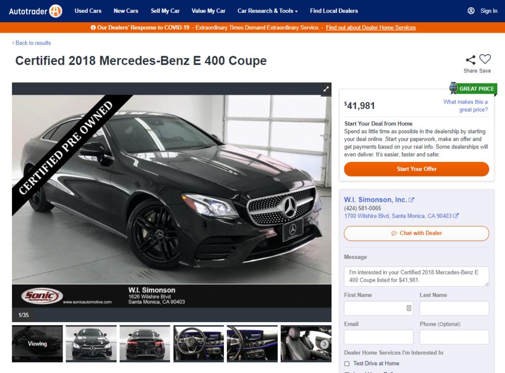 上圖這台2018 賓士 E400 coupe在美國AUTOCHECK.COM網站上的價格為41,981美元,以這台為例運回台灣的相關費用加上原來的車價和到台灣車測的費用後大約是252萬新台幣左右,