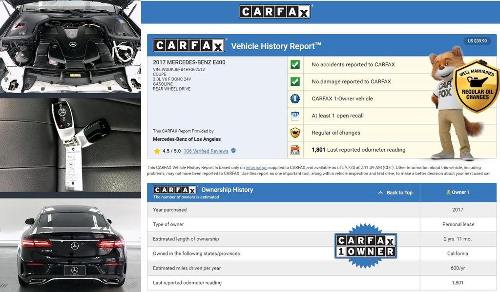 從CARFAX可以看到這台車是第一手車,沒有事故報告及損壞紀錄,這台2018 賓士 E400 coupe是屬於個人租賃,加上車主都有定期保養是台車況不錯的車喔!