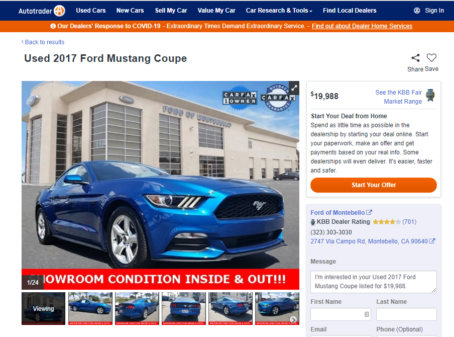 福特野馬中古車在美國行情是多少呢?  在美國買車網站(autotrader.com)上2017福特野馬Coupe價格為19,988美元,這台漂亮的藍色福特野馬車況良好里程數為18,847英哩,  這台野馬代辦回台灣Car2TW預估需要123萬左右,想知道這台2017 Ford Mustang GT Coupe的配備及CARFAX報告嗎?  歡迎向Car2TW來詢問喔!當然預算比較充裕的朋友可以在autotrader.com網站上往里程數低或是配備多一點再找看看喔!