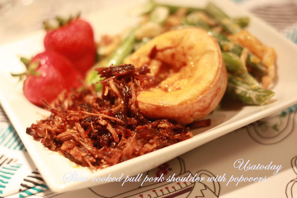 Slow cooked pull pork shoulder with popovers 1