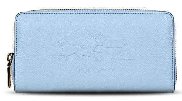 new products 0912d 58051 COACH 52401 專櫃款淺藍色大馬車壓印logo拉鏈長夾☆已售出☆~被 ...