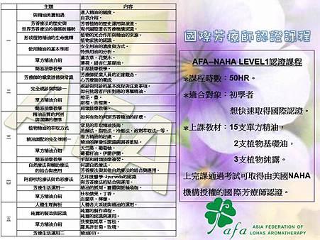 2013年AFA芳療樂活協會國際芳療師課程資訊(新)