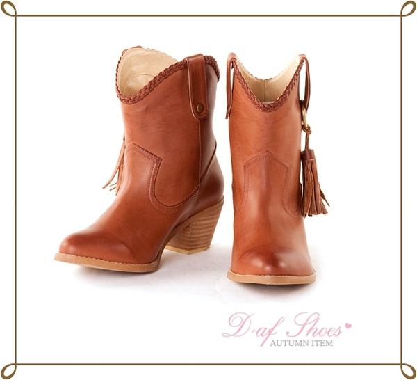 D+AF 浪漫Gypsy樂章麻花編織側流蘇牛仔短靴*棕1299.jpg