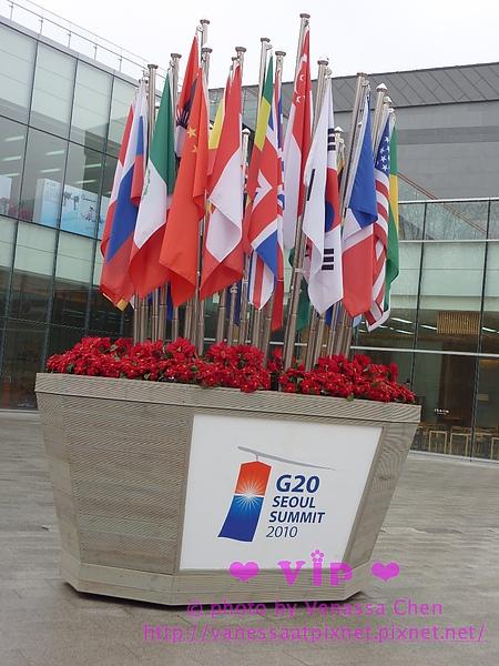 著名景點都插著G20會員國的國旗。