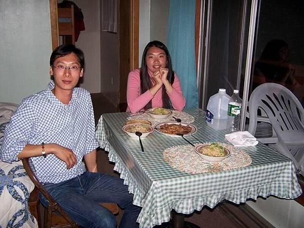 dinner in the cabin