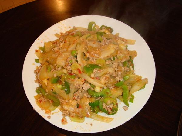 炒放生菜肉末