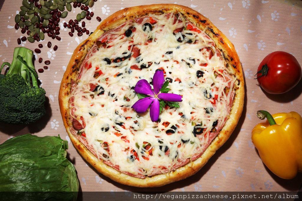 純素熱狗培根素食披薩