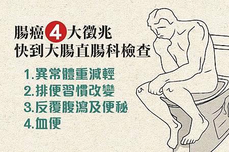 腸癌4大徵兆,快到大腸直腸科檢查!