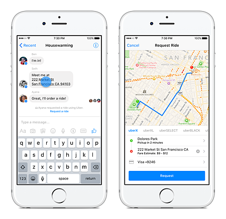 Facebook 與 Uber 將合作,用 Messenger 幫你叫車!