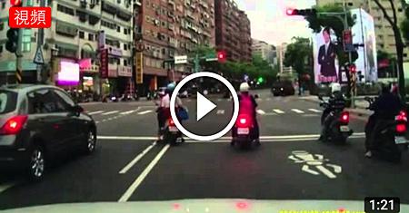 驚險一瞬間 闖紅燈的騎士 反而救了警察.png