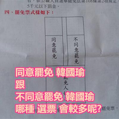 同意罷免 韓國瑜 跟 不同意罷免 韓國瑜 哪種 選票 會較多呢.jpg