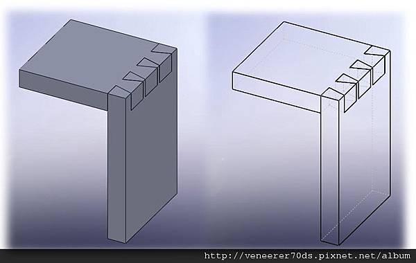 燕尾榫 (鳩尾榫)  Dovetail Joints 或稱貫穿鳩尾榫-Through Dovetail