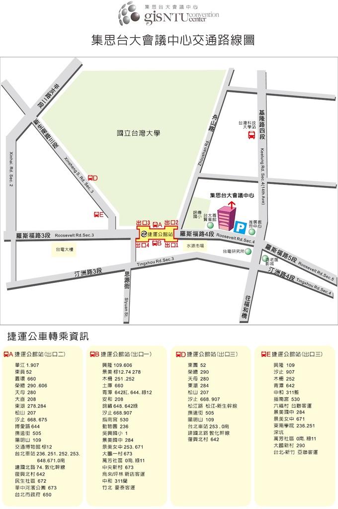 台大集思會議中心交通路線圖